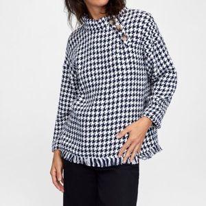 NWT Zara Check Tweed Poncho Sweater Top Medium